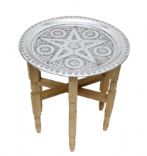 Moroccan Aluminium Tray Table with Folding Cedar Wood Legs Handmade Small 40cm 15.7'' (ATT2)